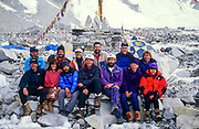 1996 New Zealand Everest expedition led by Adventure Consultants guides Rob Hall, Andy Harris & Mike Groom, Everest base camp before the ill-fated climb. Khumbu Himal, Nepal