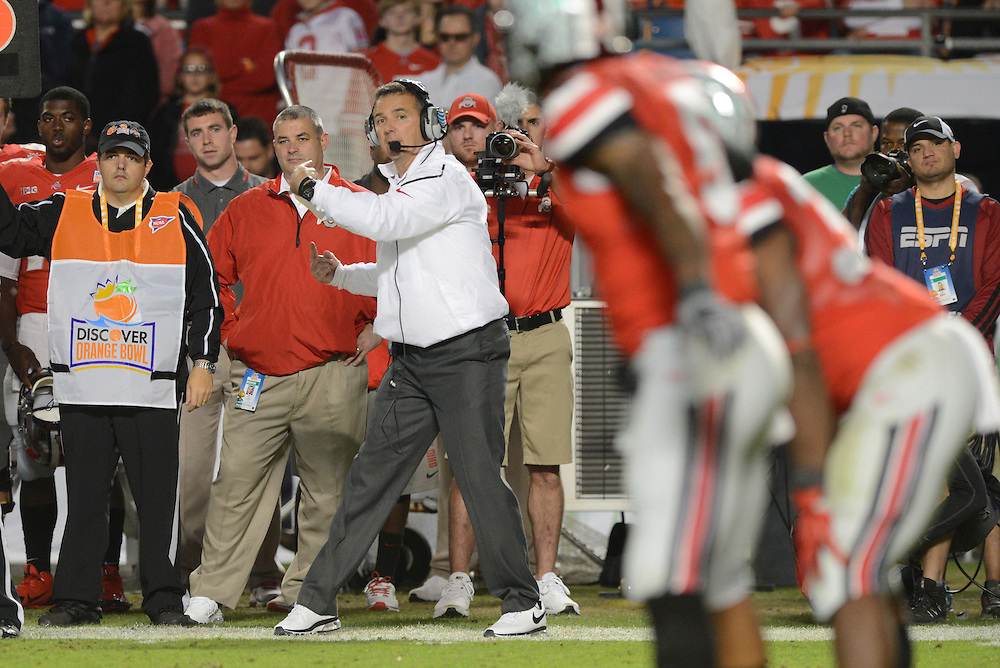 January 3, 2014: Head coach Urban Meyer of Ohio State in action during the NCAA football game between the Clemson Tigers and the Ohio State Buckeyes at the 2014 Orange Bowl in Miami Gardens, Florida. The Buckeyes led the Tigers 22-20 at the half.
