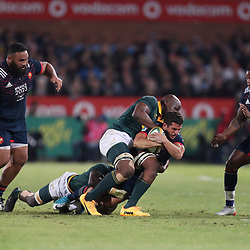 Oupa Mohoje of South Africa tackling Brice Dulin of France during the 1st test match between South Africa and France Loftus Versfeld stadium, Pretoria South Africa. 10th June 2017(Photo by Steve Haag Sports)