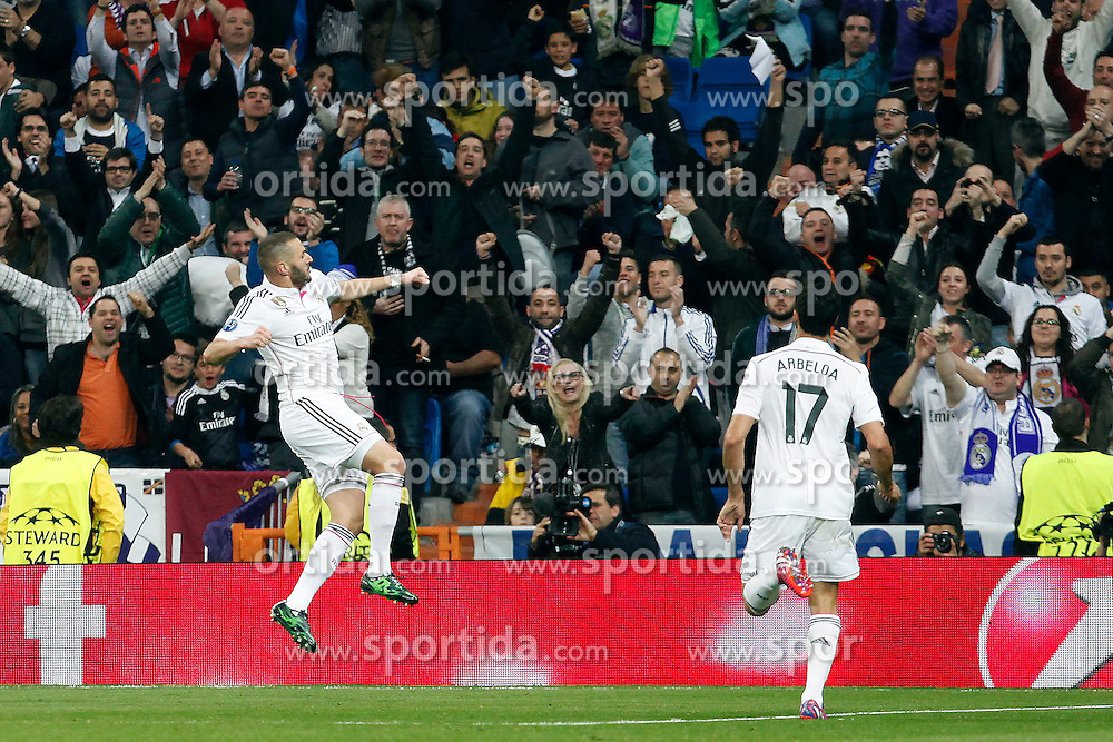 10.03.2015, Estadio Santiago Bernabeu, Madrid, ESP, UEFA CL, Real Madrid vs Schalke 04, Achtelfinal, R&uuml;ckspiel, im Bild Real Madrid&acute;s Gareth Benzema // during the UEFA Champions League Round of 16, 2nd Leg match between Real Madrid and Schakke 04 at the Estadio Santiago Bernabeu in Madrid, Spain on 2015/03/10. EXPA Pictures &copy; 2015, PhotoCredit: EXPA/ Alterphotos/ Caro Marin<br /> <br /> *****ATTENTION - OUT of ESP, SUI*****
