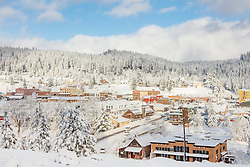 """Downtown Truckee 26"" - Photograph of a snowy historic Downtown Truckee, shot in the morning after a big snow storm."