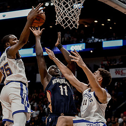 Oct 20, 2017; New Orleans, LA, USA; New Orleans Pelicans guard Jrue Holiday (11) shoots over Golden State Warriors forward Kevin Durant (35) and guard Klay Thompson (11) during the second half of a game at the Smoothie King Center. The Warriors defeated the Pelicans 128-120.  Mandatory Credit: Derick E. Hingle-USA TODAY Sports