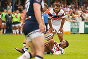 Bradford Bulls prop Colton Roche (11) feels the challenge  during the Kingstone Press Championship match between Swinton Lions and Bradford Bulls at the Willows, Salford, United Kingdom on 20 August 2017. Photo by Simon Davies.