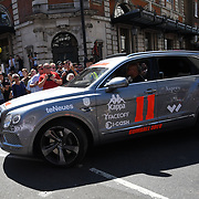 Celebrities attend the launch and flag drop of 2018's Gumball 3000 rally, the annual star studded road trip which raises money for Gumball 300 Foundation to support a variety of charities in Convent Garden on 5 August 2018, London, UK