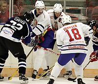 Ishockey, 21. desember 2004, Norwegian All-stars - World Stars,   Pål Erik Glomsås, Ansan Carter og  Jonas Gabrielsen