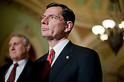 Dec 14, 2010 - Washington, District of Columbia, U.S. -  Senator JOHN BARRASSO,(R-WY) looks on as Senate Minority Leader Mitch McConnell (R-KY) speaks to the media at the Capitol on Tuesday.  (Credit Image: © Pete Marovich/ZUMA Press)
