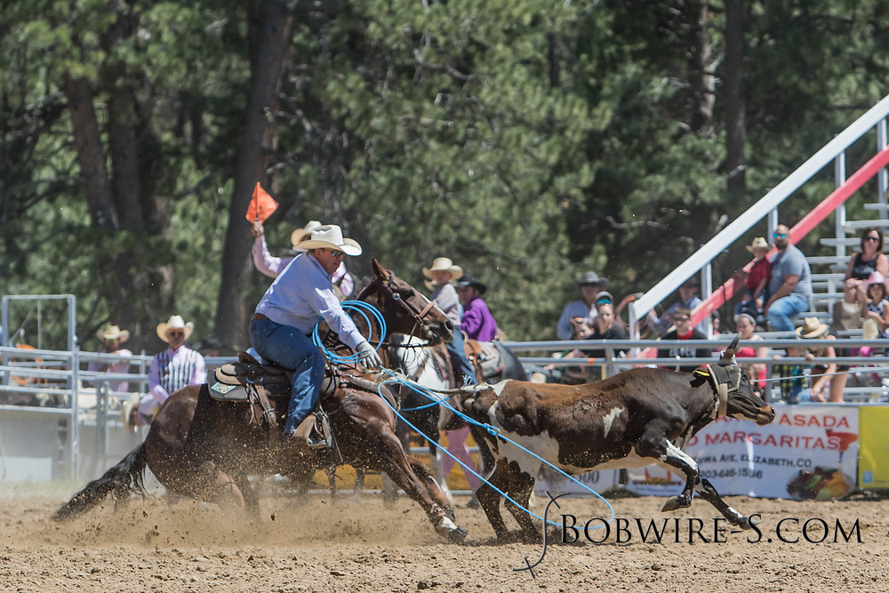 Heeler Chad Wahlert throws a heel trap in his team roping run in the first performance of the Elizabeth Stampede on Saturday, June 2, 2018.