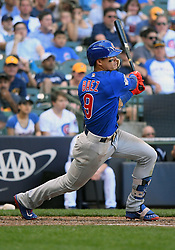 June 13, 2018 - Milwaukee, WI, U.S. - MILWAUKEE, WI - JUNE 13: Chicago Cubs Second base Javier Baez (9) makes contact during a MLB game between the Milwaukee Brewers and Chicago Cubs on June 13, 2018 at Miller Park in Milwaukee, WI. The Brewers defeated the Cubs 1-0.(Photo by Nick Wosika/Icon Sportswire) (Credit Image: © Nick Wosika/Icon SMI via ZUMA Press)