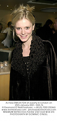 Actress EMILIA FOX at a party in London on 25th January 2001.	OKS 76
