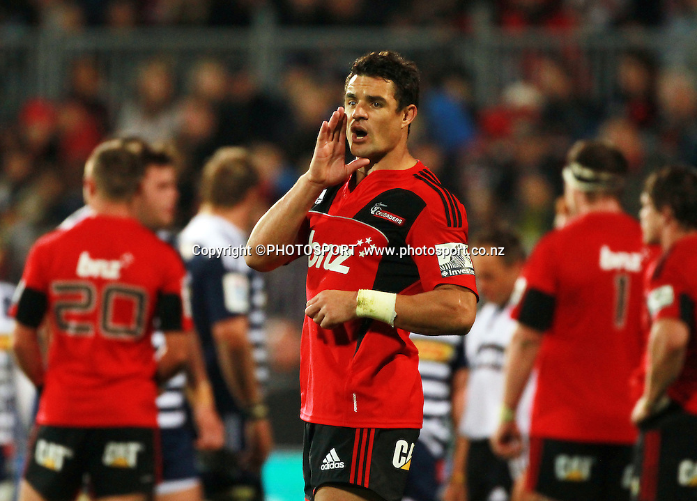 Dan Carter for the Crusaders. Super Rugby game between the Crusaders and the Stormers. Crusaders new Christchurch Stadium at Rugby League Park, Saturday 14 April 2012. Photo : Joseph Johnson / photosport.co.nz