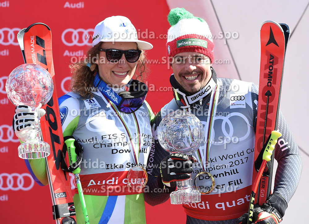 15.03.2017, Aspen, USA, FIS Weltcup Ski Alpin, Finale 2017, Siegerehrung Abfahrtsweltcup Gesamtsieger 2017, im Bild v.l. Ilka Stuhec (SLO, 1. Platz und Abfahrts-Weltcupsiegerin) und Peter Fill (ITA, 2. Platz und Abfahrts-Weltcupsieger) mit ihren Kristrallkugeln für den Abfahrts Weltcupsieg // f.l. Winner of the Downhill Globe Ilka Stuhec of Slovenia and Winner of the Downhill Globe Peter Fill of Italy with their crystal gobes for the downhill World Cup during the winner award ceremony for the ladie's and the men's downhill overall winner at 2017 FIS ski alpine world cup finals. Aspen, United Staates on 2017/03/15. EXPA Pictures © 2017, PhotoCredit: EXPA/ Spiess