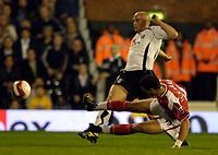 Photo: Daniel Hambury.<br />Fulham v Charlton Athletic. The Barclays Premiership. 16/10/2006.<br />Fulham's Claus Jensen scores to make it 2-0.