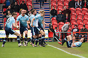 Blackpool celebrate Jordan Flores's penalty goal 0-1 during the EFL Sky Bet League 2 match between Doncaster Rovers and Blackpool at the Keepmoat Stadium, Doncaster, England on 17 April 2017. Photo by Craig Zadoroznyj.