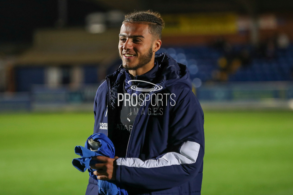 AFC Wimbledon defender Nesta Guinness-Walker (18) walking onto pitch during the Leasing.com EFL Trophy match between AFC Wimbledon and Leyton Orient at the Cherry Red Records Stadium, Kingston, England on 8 October 2019.