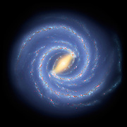 Using infrared images from NASA's Spitzer Space Telescope, scientists have discovered that the Milky Way's elegant spiral structure is dominated by just two arms wrapping off the ends of a central bar of stars. Previously, our galaxy was thought to possess four major arms. This artist's concept illustrates the new view of the Milky Way, along with other findings presented at the 212th American Astronomical Society meeting in St. Louis, Mo. The galaxy's two major arms (Scutum-Centaurus and Perseus) can be seen attached to the ends of a thick central bar, while the two now-demoted minor arms (Norma and Sagittarius) are less distinct and located between the major arms. The major arms consist of the highest densities of both young and old stars; the minor arms are primarily filled with gas and pockets of star-forming activity.