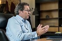 03 JUL 2019, BERLIN/GERMANY:<br /> Andreas Scheuer, CSU, Bundesminister fuer Verkehr und digitale Infrastruktur, waehrend einem Interview, in seinem Buero, Bundesministerium fuer Verkehr und digitale Infrastruktur<br /> IMAGE: 20190703-01-050