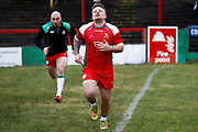 Keighley Cougars loose forward Mike Emmett (13) warming up  during the Betfred League 1 match between Keighley Cougars and Workington Town at Cougar Park, Keighley, United Kingdom on 18 February 2018. Picture by Simon Davies.