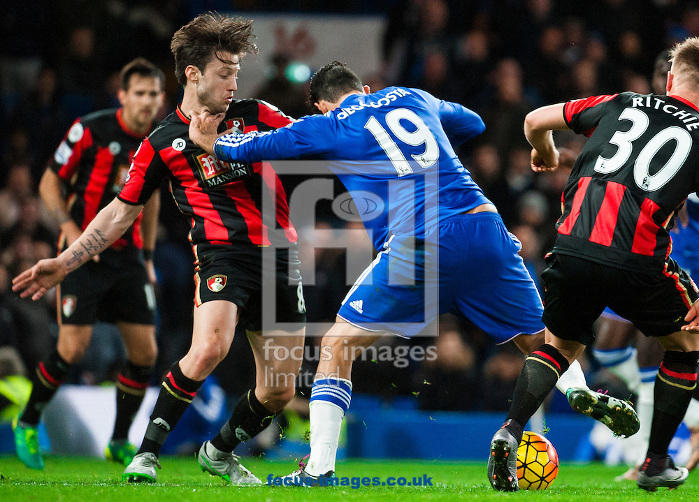 Diego Costa of Chelsea fights Harry After of AFC Bournemouth for possession in the penalty area in possession in the penalty area during the Barclays Premier League match at Stamford Bridge, London<br /> Picture by Jack Megaw/Focus Images Ltd +44 7481 764811<br /> 05/12/2015