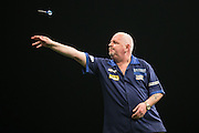 Robert Thornton in action during the Premier League Darts  at the Motorpoint Arena, Cardiff, Wales on 31 March 2016. Photo by Shane Healey.