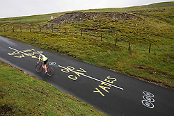 Graffiti questioning the absence of Sir Bradley Wiggins from the team Sky line up but supporting British riders Mark Cavendish and Adam Yates is seen on the road on Buttertubs Pass, part of Stage 1 in the Yorkshire Dales - Photo mandatory by-line: Rogan Thomson/JMP - 07966 386802 - 04/07/2014 - SPORT - CYCLING - Yorkshire - Le Tour de France Grand Depart Previews.