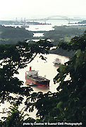 Panama CIty, Panama-- Sept. 4, 2005   After having passed un the Bridge of the Americas a ship makes its way toward the Miraflores Locks, one of four in the Panama Canal.  photo by essdras m suarez