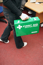 First Aid kit in Health and Safety demonstration Barnet College London UK