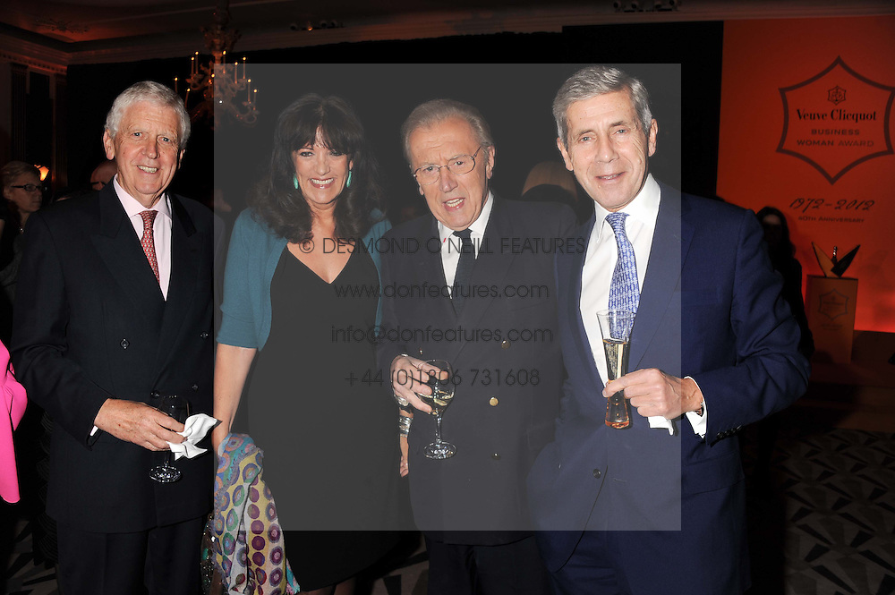 Left to right, LORD POWELL, GAIL REBUCK Chairman and Chief Executive of The Random House Group, SIR DAVID FROST and SIR STUART ROSE at the annual Veuve Clicquot Business Woman of the Year Award this year celebrating it's 40th year, held at Claridge's, Brook Street, London on 18th April 2012.