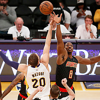 27 November 2016: Jump ball between Los Angeles Lakers center Timofey Mozgov (20) and Atlanta Hawks center Dwight Howard (8) during the Los Angeles Lakers 109-94 victory over the Atlanta Hawks, at the Staples Center, Los Angeles, California, USA.