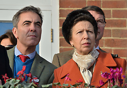 JAMES NESBITT and HRH The PRINCESS ROYAL at the 2013 Hennessy Gold Cup at Newbury Racecourse, Berkshire on 30th November 2013.