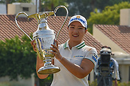 Mirim Lee (KOR) holds the trophy for winning the 2020 ANA Inspiration, Mission Hills C.C., Rancho Mirage, California, USA. 9/13/2020.<br /> Picture: Golffile | Ken Murray<br /> <br /> All photo usage must carry mandatory copyright credit (© Golffile | Ken Murray)