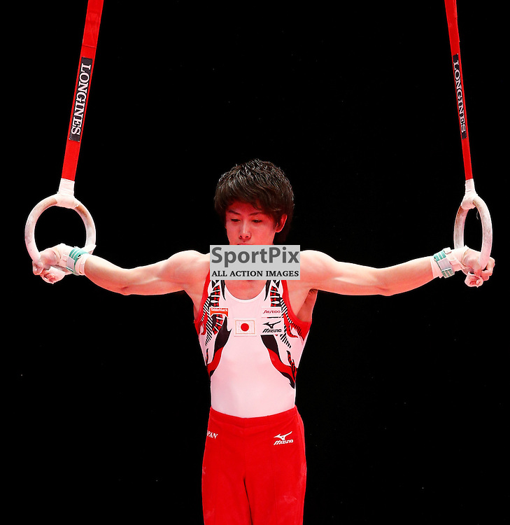 2015 Artistic Gymnastics World Championships being held in Glasgow from 23rd October to 1st November 2015.....Ryohei Kato (Japan) competing in the Still Rings competition..(c) STEPHEN LAWSON   SportPix.org.uk
