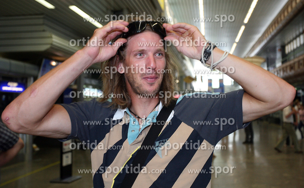 Luka Spik, Member of Slovenian Rowing Olympic Team at departure to Beijing 2008 Olympic games, on July 31, 2008, at Airport Jozeta Pucnika, Brnik, Slovenia. (Photo by Vid Ponikvar / Sportal Images)/ Sportida)