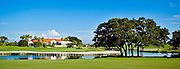 The 18th green and the clubhouse of the TPC at Prestancia Championship Course, in Sarasota, Florida.