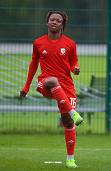 NEWPORT, WALES - Monday, October 14, 2019: Wales' Tivonge Rushesha during the pre-match warm-up before an Under-19's International Friendly match between Wales and Austria at Dragon Park. (Pic by David Rawcliffe/Propaganda)