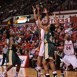 Jan 31, 2009; Piscataway, NJ, USA; Rutgers center Kia Vaughn (15) battles for a rebound with South Florida forward Melissa Dalembert (42) during the first half of South Florida's 59-56 victory over Rutgers in NCAA women's college basketball at the Louis Brown Athletic Center