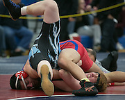 Anthony Bell of Fairport competes against Caleb Graham of Midlakes in the 160-pound weight class during a match at Fairport High School on Saturday, December 13, 2014.