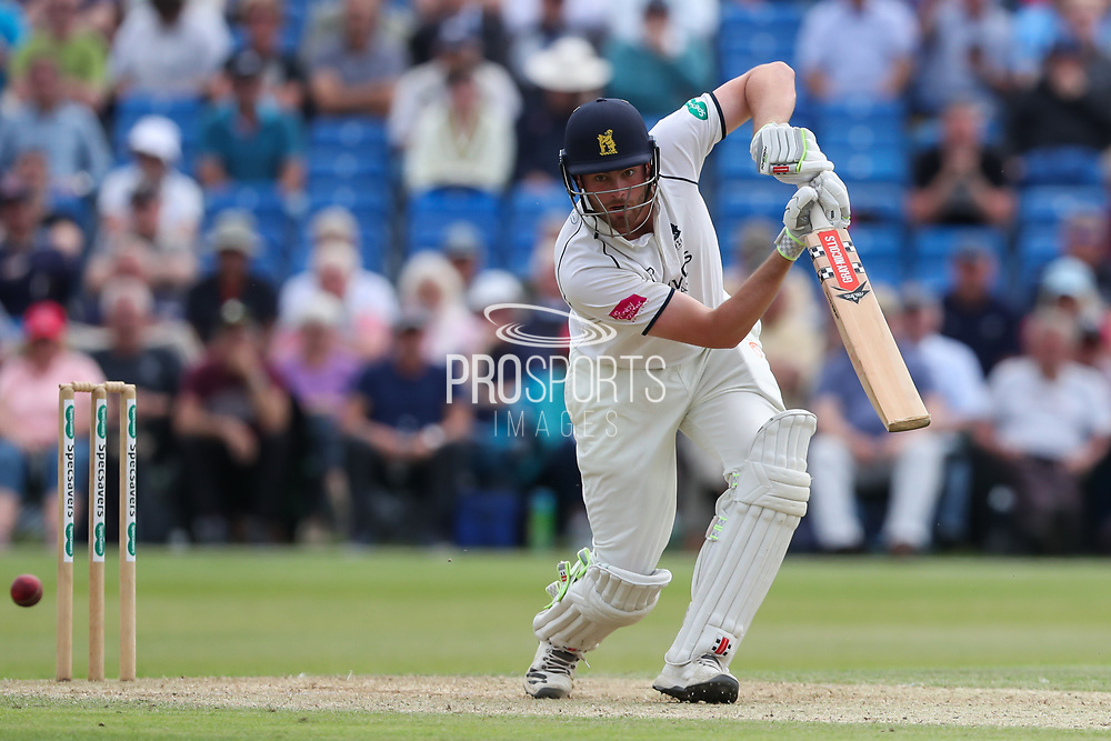 Dominic Sibley of Warwickshire plays an attacking shot during the Specsavers County Champ Div 1 match between Yorkshire County Cricket Club and Warwickshire County Cricket Club at York Cricket Club, York, United Kingdom on 18 June 2019.
