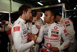 MELBOURNE, AUSTRALIA - Saturday, March 28, 2009: Jenson Button (McLaren) and Lewis Hamilton (McLaren) during the Australian Grand Prix at the Melbourne Grand Prix Circuit. (Pic by Juergen Tap/Propaganda/Hoch Zwei)