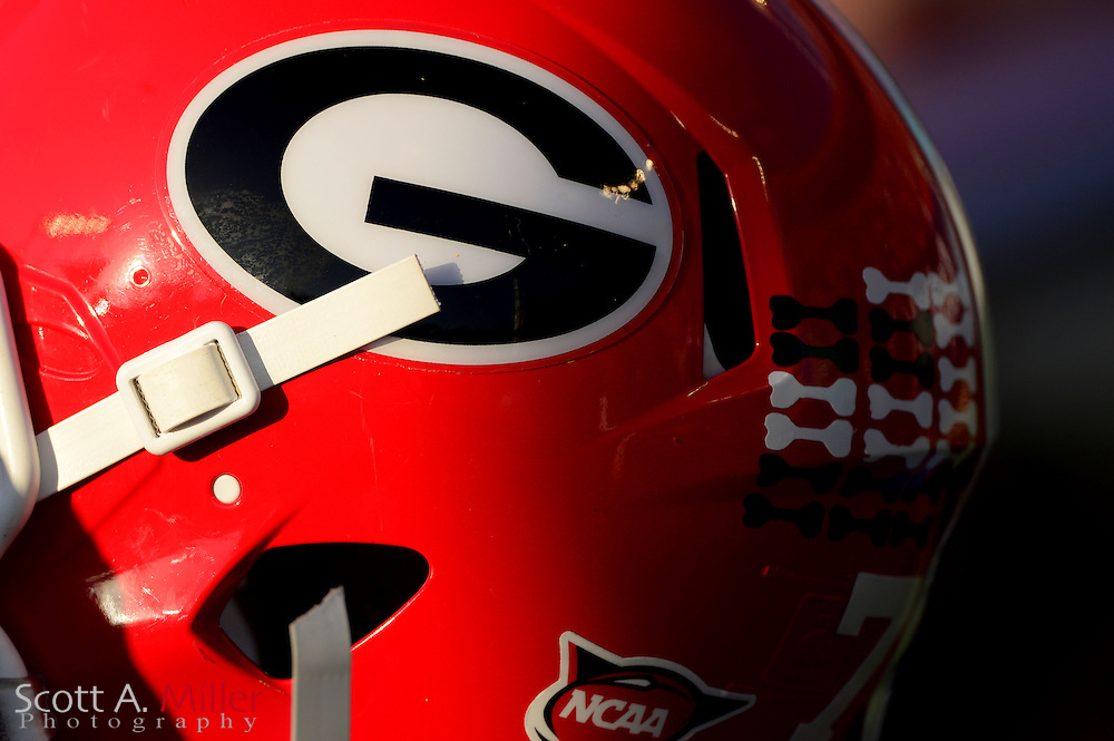 Georgia Bulldogs helmet sits on the sideline during the Bulldogs 45-31 win over the Nebraska Cornhuskers in the Capital One Bowl at the Florida Citrus Bowl on Jan 1, 2013 in Orlando, Florida. Murray was the game's MVP...©2012 Scott A. Miller..