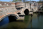 Bishop Bridge (1395), one of the oldest bridges in the country, River Wensum, Norwich, Norfolk, England
