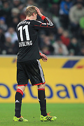 07.02.2014, Borussia Park, Moenchengladbach, GER, 1. FBL, Borussia Moenchengladbach vs Bayer 04 Leverkusen, 20. Runde, im Bild Stefan Kiessling #11 (Bayer 04 Leverkusen) fasst sich enttaeuscht an den Kopf // during the German Bundesliga 20th round match between Borussia Moenchengladbach and Bayer 04 Leverkusen at the Borussia Park in Moenchengladbach, Germany on 2014/02/07. EXPA Pictures © 2014, PhotoCredit: EXPA/ Eibner-Pressefoto/ Schueler<br /> <br /> *****ATTENTION - OUT of GER*****