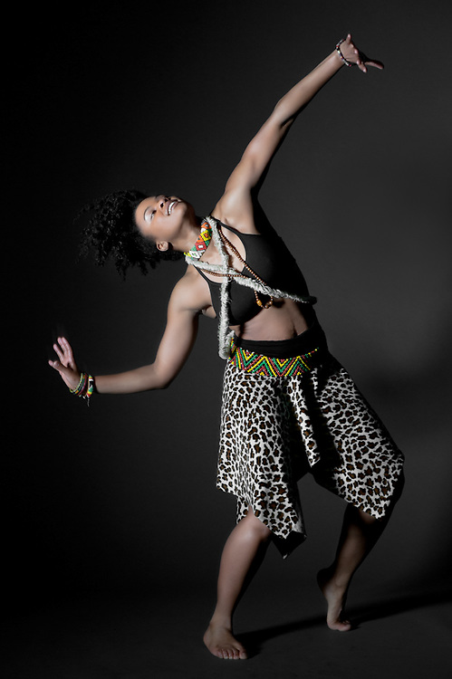 Traditional african femlae dancer in the studio