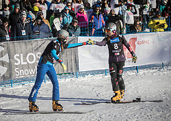 Dujmovits Julia and Langenhorst Carolin during the FIS snowboarding world cup race in Rogla (SI / SLO) | GS on January 20, 2018, in Jasna Ski slope, Rogla, Slovenia. Photo by Urban Meglic / Sportida