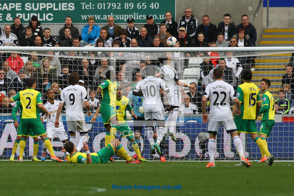 Chico Flores of Swansea heads for goal during the Barclays Premier League match at the Liberty Stadium, Swansea<br /> Picture by Paul Chesterton/Focus Images Ltd +44 7904 640267<br /> 29/03/2014