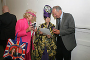 Tommy Candler with royal wedding bag; Molly Parkin;, KIM HOWELLS, Welcome to Mollywood. New paintings by Molly Parkin. RED, 1-3 rivington st. london. 27 April 2011. <br /> <br /> -DO NOT ARCHIVE-© Copyright Photograph by Dafydd Jones. 248 Clapham Rd. London SW9 0PZ. Tel 0207 820 0771. www.dafjones.com.