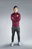 Portrait of Chinese soccer player Wen Xue of Yanbian Funde F.C. for the 2017 Chinese Football Association Super League, in Namhae County, South Gyeongsang Province, South Korea, 11 February 2017.