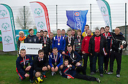 Athletes of Special Olympics Pomorskie (black) district celebrate victory after final of Polish Soccer Tournament Unified of Special Olympics in Mietne on April 28, 2013.The idea of Special Olympics is that, with appropriate motivation and guidance, each person with intellectual disabilities can train, enjoy and benefit from participation in individual and team competitions...Poland, Mietne, April 28, 2013..Picture also available in RAW (NEF) or TIFF format on special request...For editorial use only. Any commercial or promotional use requires permission...Mandatory credit: Photo by © Adam Nurkiewicz / Mediasport