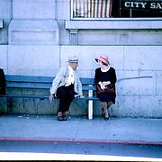 man, woman, seniors, bench, hats