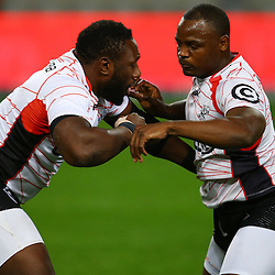 DURBAN, SOUTH AFRICA, 9,JULY, 2016 Tendai Beast Mtawarira with Chiliboy Ralepelle of the Cell C Sharks during The Cell C Sharks vs Toyota Cheetahs  Super Rugby Match at Growthpoint Kings Park in Durban, South Africa. (Photo by Steve Haag)<br /> <br /> images for social media must have consent from Steve Haag