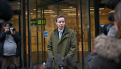 © Licensed to London News Pictures. 03/02/2016. London, UK. George Bingham talks to reporters at The High Court, after he was granted a death certificate for his father Lord Lucan.  The death certificate was issued 42 years after the peer went mssing after his children's nanny was murdered in London. After he was declared dead in 1999, today's new ruling gives his son the right to inherit the family title. Photo credit: Peter Macdiarmid/LNP